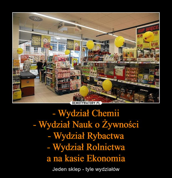 - Wydział Chemii- Wydział Nauk o Żywności- Wydział Rybactwa- Wydział Rolnictwaa na kasie Ekonomia – Jeden sklep - tyle wydziałów