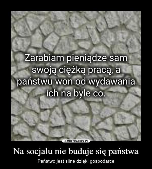 Na socjalu nie buduje się państwa – Państwo jest silne dzięki gospodarce Zarabiam pieniądze samswoją ciężką pracą, apaństwu won od wydawania na byle CO