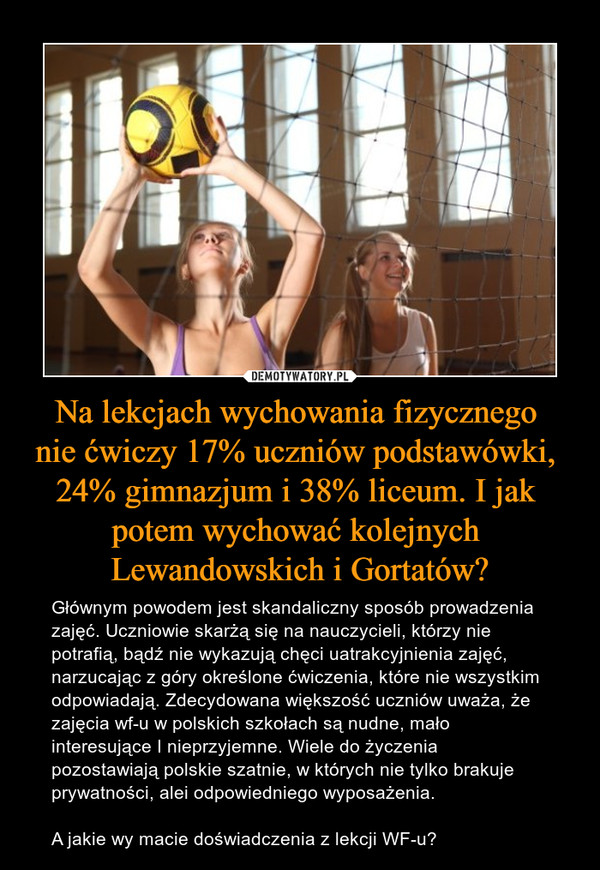 Na lekcjach wychowania fizycznego  nie ćwiczy 17% uczniów podstawówki,  24% gimnazjum i 38% liceum. I jak  potem wychować kolejnych  Lewandowskich i Gortatów?