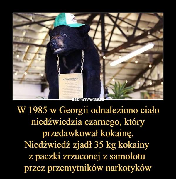 W 1985 w Georgii odnaleziono ciało niedźwiedzia czarnego, który przedawkował kokainę.Niedźwiedź zjadł 35 kg kokainy z paczki zrzuconej z samolotu przez przemytników narkotyków –