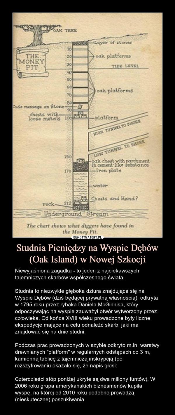 """Studnia Pieniędzy na Wyspie Dębów (Oak Island) w Nowej Szkocji – Niewyjaśniona zagadka - to jeden z najciekawszych tajemniczych skarbów współczesnego świata.Studnia to niezwykle głęboka dziura znajdująca się na Wyspie Dębów (dziś będącej prywatną własnością), odkryta w 1795 roku przez rybaka Daniela McGinnisa, który odpoczywając na wyspie zauważył otwór wytworzony przez człowieka. Od końca XVIII wieku prowadzone były liczne ekspedycje mające na celu odnaleźć skarb, jaki ma znajdować się na dnie studni.Podczas prac prowadzonych w szybie odkryto m.in. warstwy drewnianych """"platform"""" w regularnych odstępach co 3 m, kamienną tablicę z tajemniczą inskrypcją (po rozszyfrowaniu okazało się, że napis głosi:Czterdzieści stóp poniżej ukryte są dwa miliony funtów). W 2006 roku grupa amerykańskich biznesmenów kupiła wyspę, na której od 2010 roku podobno prowadzą (nieskuteczne) poszukiwania"""