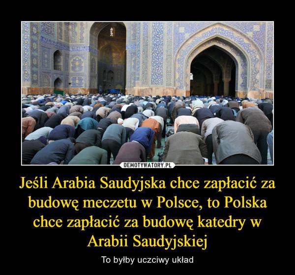 Jeśli Arabia Saudyjska chce zapłacić za budowę meczetu w Polsce, to Polska chce zapłacić za budowę katedry w Arabii Saudyjskiej – To byłby uczciwy układ