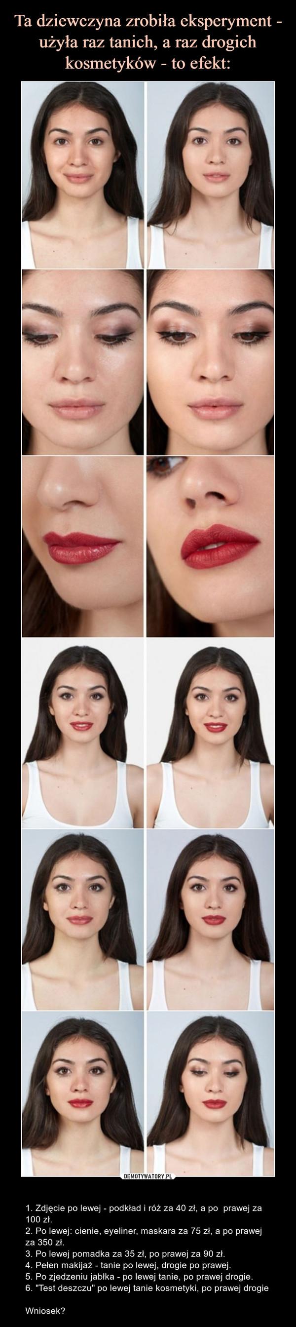"""– 1. Zdjęcie po lewej - podkład i róż za 40 zł, a po  prawej za 100 zł.2. Po lewej: cienie, eyeliner, maskara za 75 zł, a po prawej za 350 zł.3. Po lewej pomadka za 35 zł, po prawej za 90 zł.4. Pełen makijaż - tanie po lewej, drogie po prawej.5. Po zjedzeniu jabłka - po lewej tanie, po prawej drogie.6. """"Test deszczu"""" po lewej tanie kosmetyki, po prawej drogieWniosek?"""