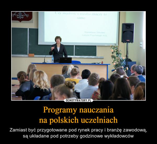 Programy nauczaniana polskich uczelniach – Zamiast być przygotowane pod rynek pracy i branżę zawodową, są układane pod potrzeby godzinowe wykładowców