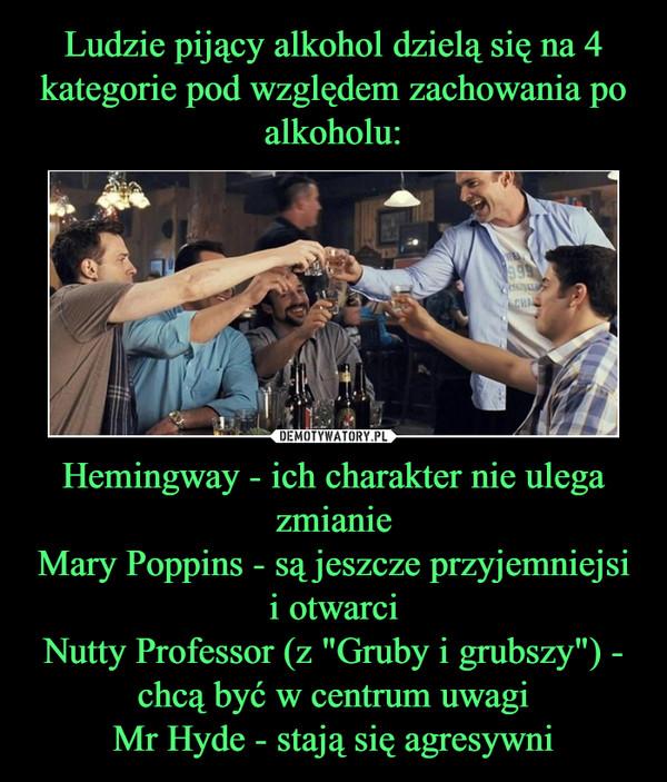 """Hemingway - ich charakter nie ulega zmianieMary Poppins - są jeszcze przyjemniejsi i otwarciNutty Professor (z """"Gruby i grubszy"""") - chcą być w centrum uwagiMr Hyde - stają się agresywni –"""