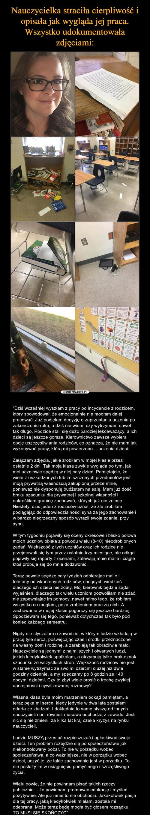 Nauczycielka straciła cierpliwość i opisała jak wygląda jej praca. Wszystko udokumentowała zdjęciami: