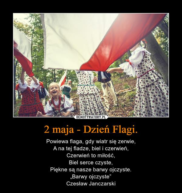 """2 maja - Dzień Flagi. – Powiewa flaga, gdy wiatr się zerwie,A na tej fladze, biel i czerwień,Czerwień to miłość,Biel serce czyste,Piękne są nasze barwy ojczyste.""""Barwy ojczyste""""Czesław Janczarski"""