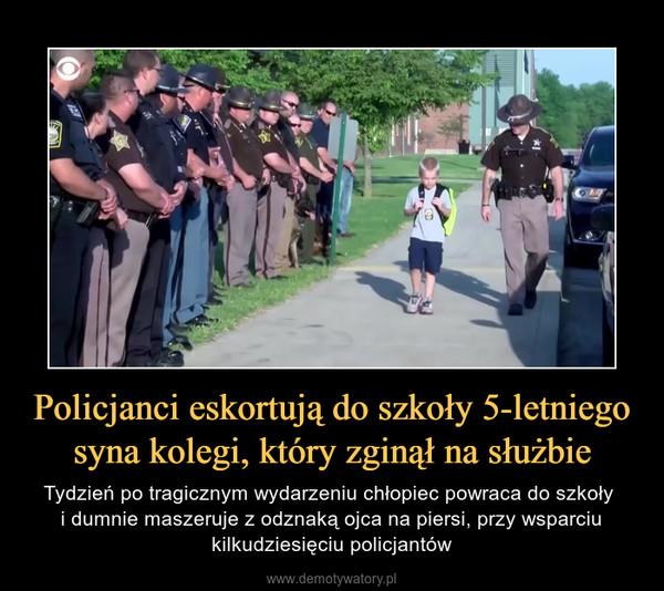 Policjanci eskortują do szkoły 5-letniego syna kolegi, który zginął na służbie – Tydzień po tragicznym wydarzeniu chłopiec powraca do szkoły i dumnie maszeruje z odznaką ojca na piersi, przy wsparciu kilkudziesięciu policjantów