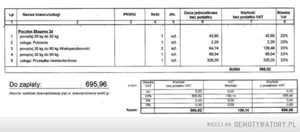 Uwaga na drastyczne podwyżki (do 500%) przesyłek Poczty Polskiej – Poczta Polska wprowadziła nową ofertę dla swoich stałych klientów  z umową na przesyłki pocztex. ( do tej pory cena na poziomie 12zł+VAT za przesyłkę do 30kg 24zł+VAT do 50kg . Na zdjęciu faktura za wysłanie 3 przesyłek po podwyżce.  Niestety nie mogę się doprosić informacji o konkretnych wagach i wymiarach , a przedstawiciel Poczty Polskiej nie widzi w nowej polityce cenowej niczego złego. Jak wynika z odpowiedzi na reklamację : Za przesyłkę niestandard jest doliczana dopłata 200 %, przy przekroczeniu w całym wolumenie 15 % przesyłek kurierskich Pocztex jest doliczane 500% opłaty. Tak skończyło się moje podejście do wspierania firm z krajowym kapitałem. Gratuluję i życzę Poczcie Polskiej  sukcesu na konkurencyjnym rynku przesyłek kurierskich.
