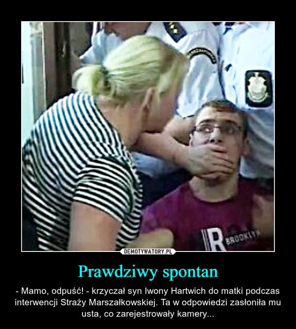 Prawdziwy spontan – - Mamo, odpuść! - krzyczał syn Iwony Hartwich do matki podczas interwencji Straży Marszałkowskiej. Ta w odpowiedzi zasłoniła mu usta, co zarejestrowały kamery...