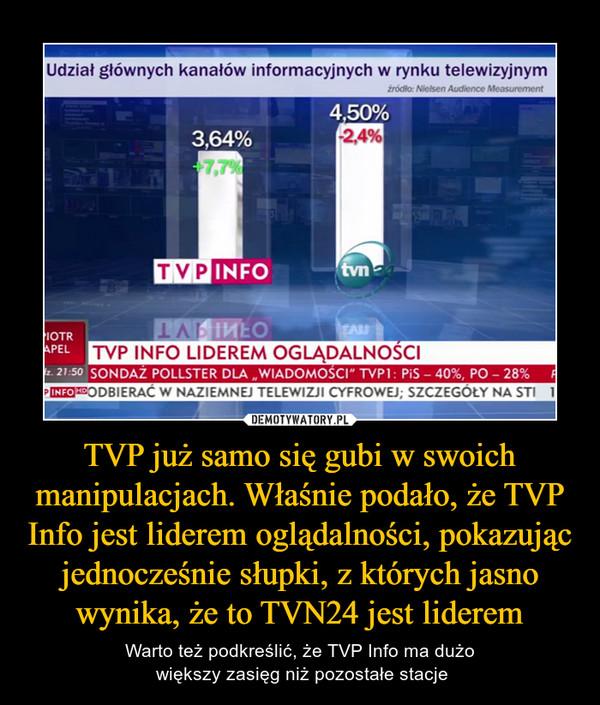 TVP już samo się gubi w swoich manipulacjach. Właśnie podało, że TVP Info jest liderem oglądalności, pokazując jednocześnie słupki, z których jasno wynika, że to TVN24 jest liderem – Warto też podkreślić, że TVP Info ma dużo większy zasięg niż pozostałe stacje