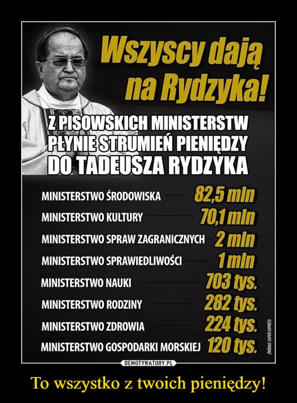 To wszystko z twoich pieniędzy! –  Wszyscy dają na Rydzyka!MINISTERSTWO ŚRODOWISKA 82,5 mln MINISTERSTWO KULTURY 70,1 mln MINISTERSTWO SPRAW ZAGRANICZNYCH 2 mln MINISTERSTWO SPRAWIEDLIWOŚCI 1 mln MINISTERSTWO NAUKI 703 tys. MINISTERSTWO RODZINY 282 tys. MINISTERSTWO ZDROWIA 224 tys. MINISTERSTWO GOSPODARKI MORSKIEJ 120 tys.