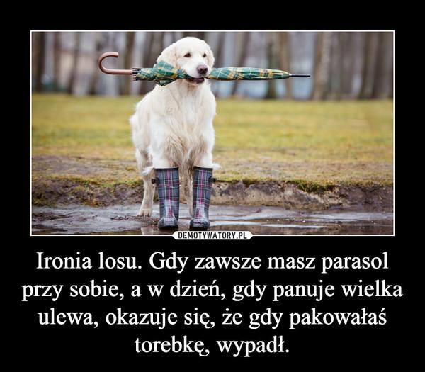 Ironia losu. Gdy zawsze masz parasol przy sobie, a w dzień, gdy panuje wielka ulewa, okazuje się, że gdy pakowałaś torebkę, wypadł. –