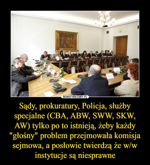 """Sądy, prokuratury, Policja, służby specjalne (CBA, ABW, SWW, SKW, AW) tylko po to istnieją, żeby każdy """"głośny"""" problem przejmowała komisja sejmowa, a posłowie twierdzą że w/w instytucje są niesprawne –"""