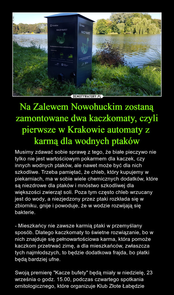 """Na Zalewem Nowohuckim zostaną zamontowane dwa kaczkomaty, czyli pierwsze w Krakowie automaty z karmą dla wodnych ptaków – Musimy zdawać sobie sprawę z tego, że białe pieczywo nie tylko nie jest wartościowym pokarmem dla kaczek, czy innych wodnych ptaków, ale nawet może być dla nich szkodliwe. Trzeba pamiętać, że chleb, który kupujemy w piekarniach, ma w sobie wiele chemicznych dodatków, które są niezdrowe dla ptaków i mnóstwo szkodliwej dla większości zwierząt soli. Poza tym często chleb wrzucany jest do wody, a niezjedzony przez ptaki rozkłada się w zbiorniku, gnije i powoduje, że w wodzie rozwijają się bakterie.- Mieszkańcy nie zawsze karmią ptaki w przemyślany sposób. Dlatego kaczkomaty to świetne rozwiązanie, bo w nich znajduje się pełnowartościowa karma, która pomoże kaczkom przetrwać zimę, a dla mieszkańców, zwłaszcza tych najmłodszych, to będzie dodatkowa frajda, bo płatki będą bardziej ufne.Swoją premierę """"Kacze bufety"""" będą miały w niedzielę, 23 września o godz. 15.00, podczas czwartego spotkania ornitologicznego, które organizuje Klub Złote Łabędzie"""