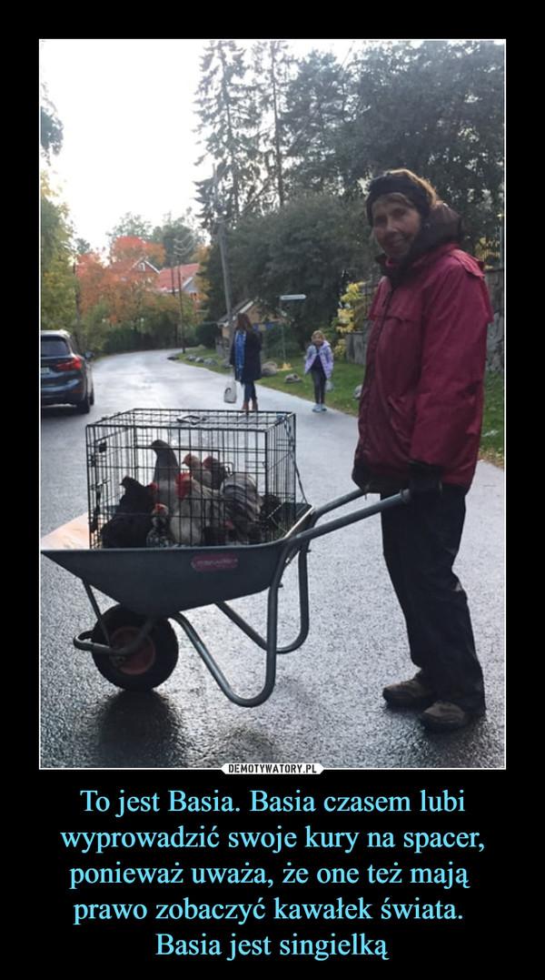 To jest Basia. Basia czasem lubi wyprowadzić swoje kury na spacer, ponieważ uważa, że one też mają prawo zobaczyć kawałek świata. Basia jest singielką –