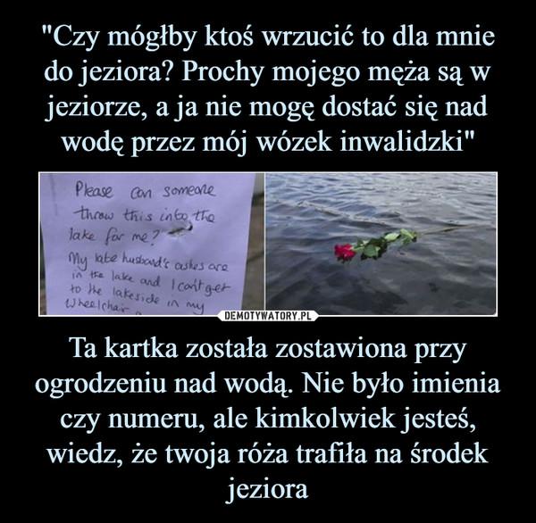 Ta kartka została zostawiona przy ogrodzeniu nad wodą. Nie było imienia czy numeru, ale kimkolwiek jesteś, wiedz, że twoja róża trafiła na środek jeziora –