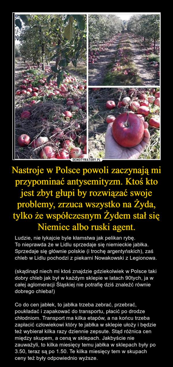 Nastroje w Polsce powoli zaczynają mi przypominać antysemityzm. Ktoś kto jest zbyt głupi by rozwiązać swoje problemy, zrzuca wszystko na Żyda, tylko że współczesnym Żydem stał się Niemiec albo ruski agent. – Ludzie, nie łykajcie byle kłamstwa jak pelikan rybę. To nieprawda że w Lidlu sprzedaje się niemieckie jabłka. Sprzedaje się głównie polskie (i trochę argentyńskich), zaś chleb w Lidlu pochodzi z piekarni Nowakowski z Legionowa. (skądinąd niech mi ktoś znajdzie gdziekolwiek w Polsce taki dobry chleb jak był w każdym sklepie w latach 90tych, ja w całej aglomeracji Śląskiej nie potrafię dziś znaleźć równie dobrego chleba!)Co do cen jabłek, to jabłka trzeba zebrać, przebrać, poukładać i zapakować do transportu, płacić po drodze chłodniom. Transport ma kilka etapów, a na końcu trzeba zapłacić człowiekowi który te jabłka w sklepie ułoży i będzie też wybierał kilka razy dziennie zepsute. Stąd różnica cen między skupem, a ceną w sklepach. Jakbyście nie zauważyli, to kilka miesięcy temu jabłka w sklepach były po 3.50, teraz są po 1.50. Te kilka miesięcy tem w skupach ceny też były odpowiednio wyższe.