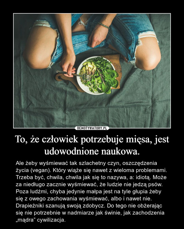 """To, że człowiek potrzebuje mięsa, jest udowodnione naukowa. – Ale żeby wyśmiewać tak szlachetny czyn, oszczędzenia życia (vegan). Który wiąże się nawet z wieloma problemami. Trzeba być, chwila, chwila jak się to nazywa, a: idiotą. Może za niedługo zacznie wyśmiewać, że ludzie nie jedzą psów. Poza ludźmi, chyba jedynie małpa jest na tyle głupia żeby się z owego zachowania wyśmiewać, albo i nawet nie. Drapieżniki szanują swoją zdobycz. Do tego nie obżerając się nie potrzebnie w nadmiarze jak świnie, jak zachodzenia """"mądra"""" cywilizacja."""