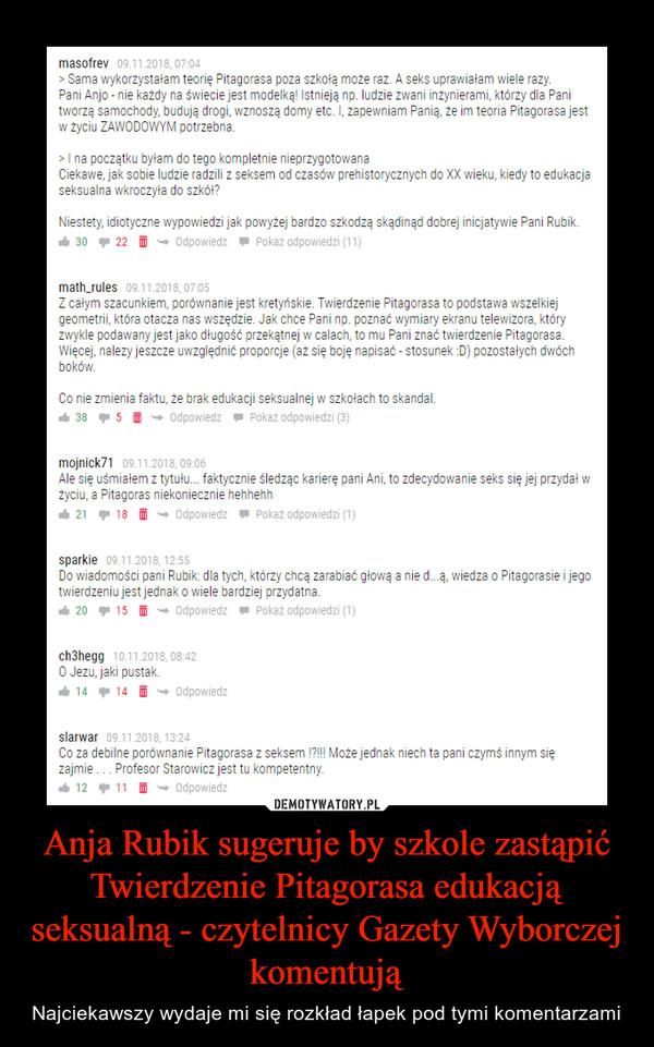 Anja Rubik sugeruje by szkole zastąpić Twierdzenie Pitagorasa edukacją seksualną - czytelnicy Gazety Wyborczej komentują – Najciekawszy wydaje mi się rozkład łapek pod tymi komentarzami