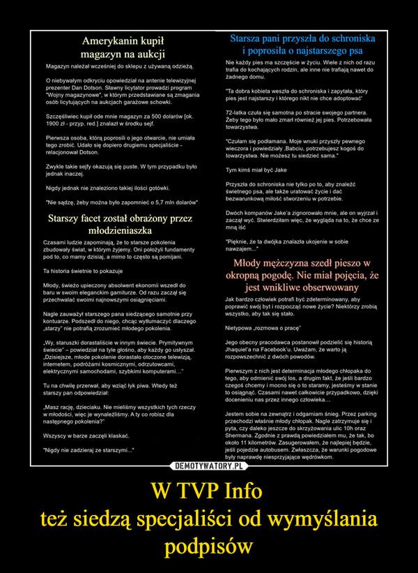 W TVP Info też siedzą specjaliści od wymyślania podpisów –