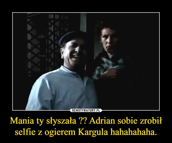 Mania ty słyszała ?? Adrian sobie zrobił selfie z ogierem Kargula hahahahaha. –