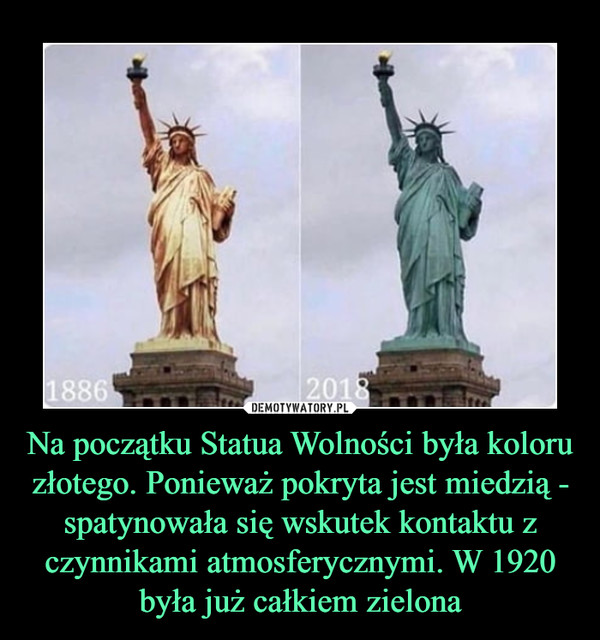 Na początku Statua Wolności była koloru złotego. Ponieważ pokryta jest miedzią - spatynowała się wskutek kontaktu z czynnikami atmosferycznymi. W 1920 była już całkiem zielona –