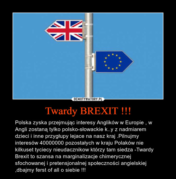 Twardy BREXIT !!! – Polska zyska przejmując interesy Anglików w Europie , w Angli zostaną tylko polsko-słowackie k..y z nadmiarem dzieci i inne przygłupy lejace na nasz kraj .Pilnujmy interesów 40000000 pozostałych w kraju Polaków nie kilkuset tyciecy nieudacznikow którzy tam siedza -Twardy Brexit to szansa na marginalizacje chimerycznej sfochowanej i pretensjonalnej społeczności angielskiej ,dbajmy ferst of all o siebie !!!