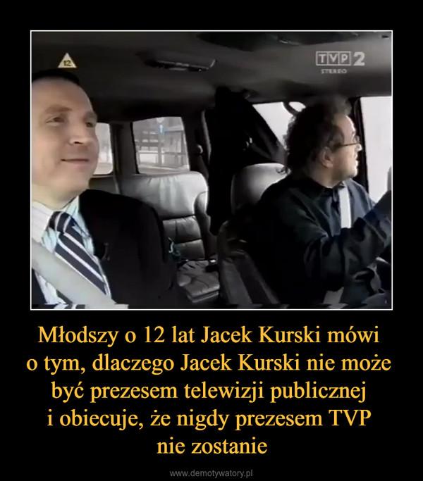 Młodszy o 12 lat Jacek Kurski mówi o tym, dlaczego Jacek Kurski nie może być prezesem telewizji publicznej i obiecuje, że nigdy prezesem TVP nie zostanie –