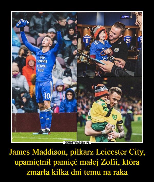 James Maddison, piłkarz Leicester City, upamiętnił pamięć małej Zofii, która zmarła kilka dni temu na raka –