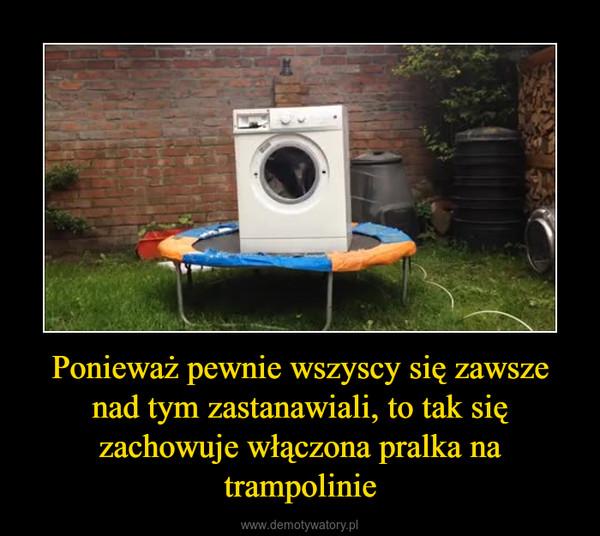 Ponieważ pewnie wszyscy się zawsze nad tym zastanawiali, to tak się zachowuje włączona pralka na trampolinie –
