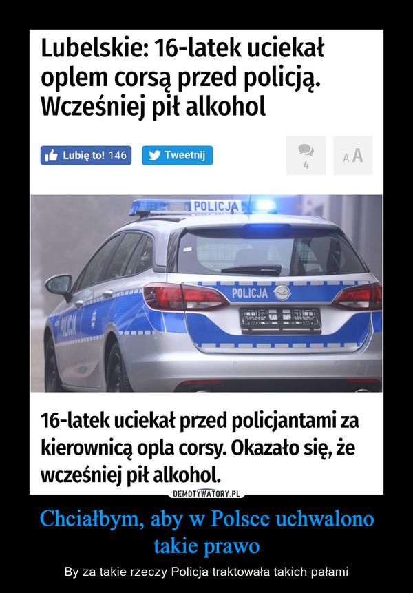 Chciałbym, aby w Polsce uchwalono takie prawo – By za takie rzeczy Policja traktowała takich pałami