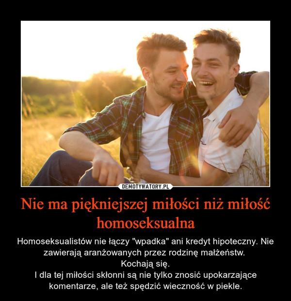 """Nie ma piękniejszej miłości niż miłość homoseksualna – Homoseksualistów nie łączy """"wpadka"""" ani kredyt hipoteczny. Nie zawierają aranżowanych przez rodzinę małżeństw. Kochają się.I dla tej miłości skłonni są nie tylko znosić upokarzające komentarze, ale też spędzić wieczność w piekle."""