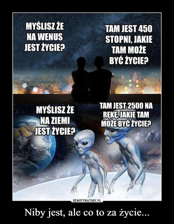Niby jest, ale co to za życie... –  MYSLISZ ZENA WENUSJEST ŻYCIE?TAM JEST 450STOPNI, JAKIETAM MOŻEBYC ZYCIE?TAM JEST 2500 NAREKE JAKIE TAMMOZEBYCZYCIE?MYSLISZ ŻENA ZIEMIJESTŻYCIE?