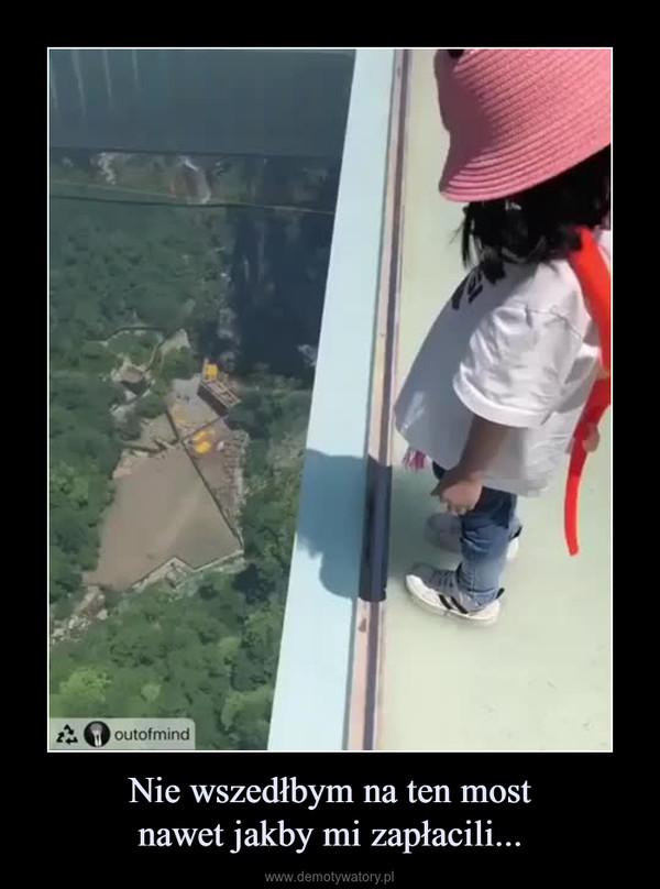 Nie wszedłbym na ten mostnawet jakby mi zapłacili... –