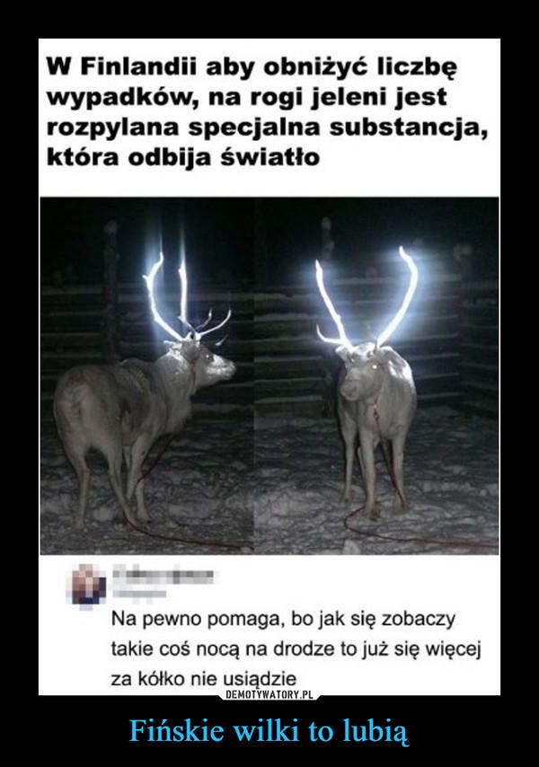 Fińskie wilki to lubią –  W Finlandii aby obniżyć liczbęwypadków, na rogi jeleni jestrozpylana specjalna substancja,która odbija światłoNa pewno pomaga, bo jak się zobaczytakie coś nocą na drodze to już się więcejza kółko nie usiądzie