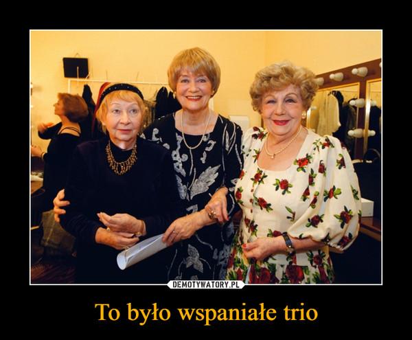 To było wspaniałe trio –