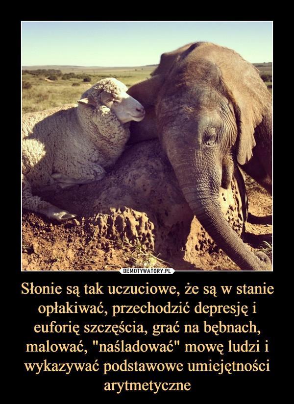 """Słonie są tak uczuciowe, że są w stanie opłakiwać, przechodzić depresję i euforię szczęścia, grać na bębnach, malować, """"naśladować"""" mowę ludzi i wykazywać podstawowe umiejętności arytmetyczne –"""