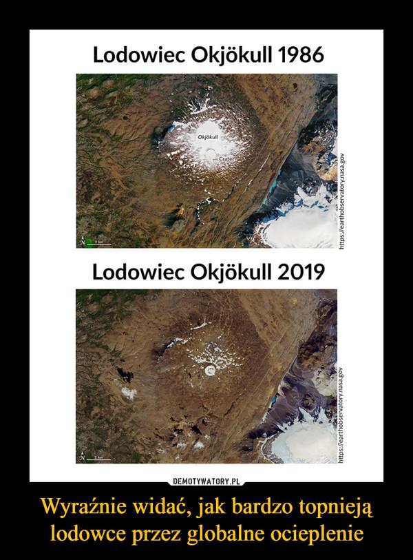 Wyraźnie widać, jak bardzo topnieją lodowce przez globalne ocieplenie –  Lodowiec Okjokull 1986 Lodowiec Okjokull 2019