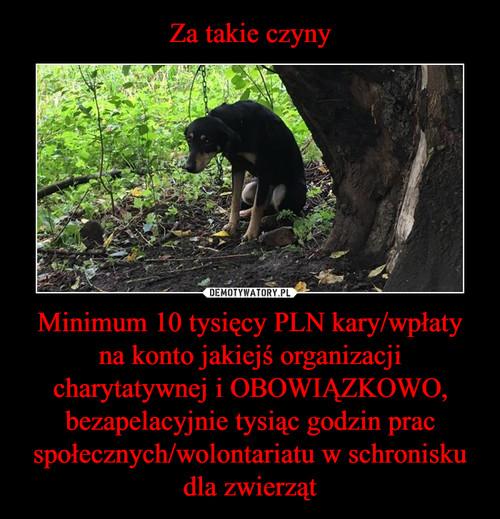 Za takie czyny Minimum 10 tysięcy PLN kary/wpłaty na konto jakiejś organizacji charytatywnej i OBOWIĄZKOWO, bezapelacyjnie tysiąc godzin prac społecznych/wolontariatu w schronisku dla zwierząt