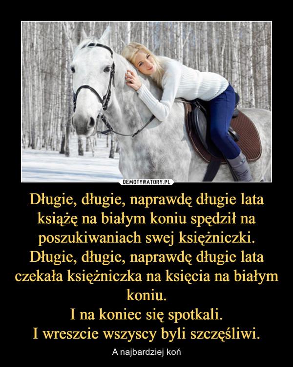 Długie, długie, naprawdę długie lata książę na białym koniu spędził na poszukiwaniach swej księżniczki.Długie, długie, naprawdę długie lata czekała księżniczka na księcia na białym koniu.I na koniec się spotkali.I wreszcie wszyscy byli szczęśliwi. – A najbardziej koń