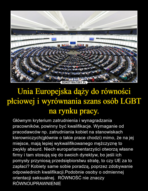 Unia Europejska dąży do równości płciowej i wyrównania szans osób LGBT na rynku pracy. – Głównym kryterium zatrudnienia i wynagradzania pracowników, powinny być kwalifikacje. Wymaganie od pracodawców np. zatrudniania kobiet na stanowiskach kierowniczych(głównie o takie prace chodzi) mimo, że na jej miejsce, mają lepiej wykwalifikowanego mężczyznę to zwykły absurd. Niech europarlamentarzyści otworzą własne firmy i tam stosują się do swoich dyrektyw, bo jeśli ich pomysły przyniosą przedsiębiorstwu stratę, to czy UE za to zapłaci? Kobiety same sobie poradzą, poprzez zdobywanie odpowiednich kwalifikacji.Podobnie osoby o odmiennej orientacji seksualnej.  RÓWNOŚĆ nie znaczy RÓWNOUPRAWNIENIE