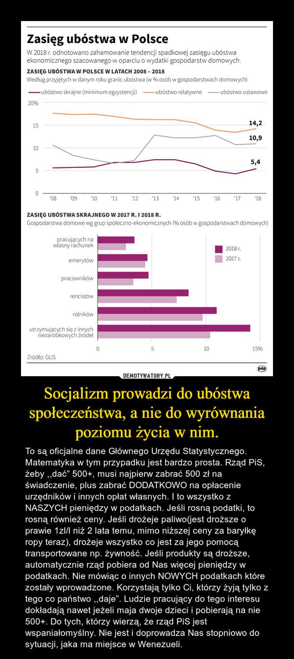 """Socjalizm prowadzi do ubóstwa społeczeństwa, a nie do wyrównania poziomu życia w nim. – To są oficjalne dane Głównego Urzędu Statystycznego. Matematyka w tym przypadku jest bardzo prosta. Rząd PiS, żeby ,,dać"""" 500+, musi najpierw zabrać 500 zł na świadczenie, plus zabrać DODATKOWO na opłacenie urzędników i innych opłat własnych. I to wszystko z NASZYCH pieniędzy w podatkach. Jeśli rosną podatki, to rosną również ceny. Jeśli drożeje paliwo(jest droższe o prawie 1zl/l niż 2 lata temu, mimo niższej ceny za baryłkę ropy teraz), drożeje wszystko co jest za jego pomocą transportowane np. żywność. Jeśli produkty są droższe, automatycznie rząd pobiera od Nas więcej pieniędzy w podatkach. Nie mówiąc o innych NOWYCH podatkach które zostały wprowadzone. Korzystają tylko Ci, którzy żyją tylko z tego co państwo ,,daje"""". Ludzie pracujący do tego interesu dokładają nawet jeżeli maja dwoje dzieci i pobierają na nie 500+. Do tych, którzy wierzą, że rząd PiS jest wspaniałomyślny. Nie jest i doprowadza Nas stopniowo do sytuacji, jaka ma miejsce w Wenezueli."""