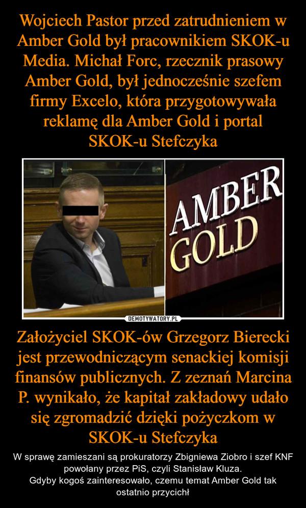 Założyciel SKOK-ów Grzegorz Bierecki jest przewodniczącym senackiej komisji finansów publicznych. Z zeznań Marcina P. wynikało, że kapitał zakładowy udało się zgromadzić dzięki pożyczkom w SKOK-u Stefczyka – W sprawę zamieszani są prokuratorzy Zbigniewa Ziobro i szef KNF powołany przez PiS, czyli Stanisław Kluza.Gdyby kogoś zainteresowało, czemu temat Amber Gold tak ostatnio przycichł