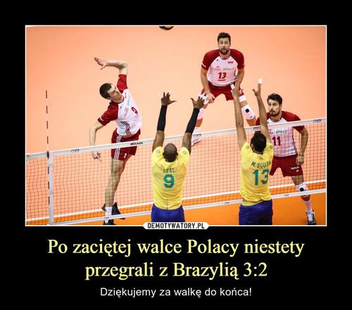 Po zaciętej walce Polacy niestety przegrali z Brazylią 3:2