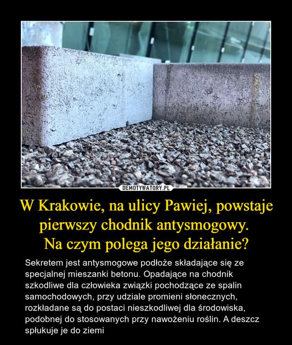 W Krakowie, na ulicy Pawiej, powstaje pierwszy chodnik antysmogowy. Na czym polega jego działanie? – Sekretem jest antysmogowe podłoże składające się ze specjalnej mieszanki betonu. Opadające na chodnik szkodliwe dla człowieka związki pochodzące ze spalin samochodowych, przy udziale promieni słonecznych, rozkładane są do postaci nieszkodliwej dla środowiska, podobnej do stosowanych przy nawożeniu roślin. A deszcz spłukuje je do ziemi
