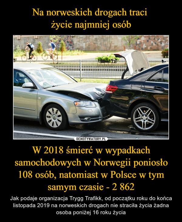 W 2018 śmierć w wypadkach samochodowych w Norwegii poniosło 108 osób, natomiast w Polsce w tym samym czasie - 2 862 – Jak podaje organizacja Trygg Trafikk, od początku roku do końca listopada 2019 na norweskich drogach nie straciła życia żadna osoba poniżej 16 roku życia