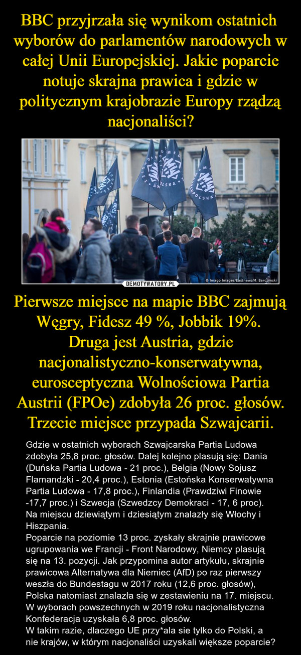 Pierwsze miejsce na mapie BBC zajmują Węgry, Fidesz 49 %, Jobbik 19%. Druga jest Austria, gdzie nacjonalistyczno-konserwatywna, eurosceptyczna Wolnościowa Partia Austrii (FPOe) zdobyła 26 proc. głosów. Trzecie miejsce przypada Szwajcarii. – Gdzie w ostatnich wyborach Szwajcarska Partia Ludowa zdobyła 25,8 proc. głosów. Dalej kolejno plasują się: Dania (Duńska Partia Ludowa - 21 proc.), Belgia (Nowy Sojusz Flamandzki - 20,4 proc.), Estonia (Estońska Konserwatywna Partia Ludowa - 17,8 proc.), Finlandia (Prawdziwi Finowie -17,7 proc.) i Szwecja (Szwedzcy Demokraci - 17, 6 proc).Na miejscu dziewiątym i dziesiątym znalazły się Włochy i Hiszpania.Poparcie na poziomie 13 proc. zyskały skrajnie prawicowe ugrupowania we Francji - Front Narodowy, Niemcy plasują się na 13. pozycji. Jak przypomina autor artykułu, skrajnie prawicowa Alternatywa dla Niemiec (AfD) po raz pierwszy weszła do Bundestagu w 2017 roku (12,6 proc. głosów),Polska natomiast znalazła się w zestawieniu na 17. miejscu. W wyborach powszechnych w 2019 roku nacjonalistyczna Konfederacja uzyskała 6,8 proc. głosów. W takim razie, dlaczego UE przy*ala sie tylko do Polski, a nie krajów, w którym nacjonaliści uzyskali większe poparcie?