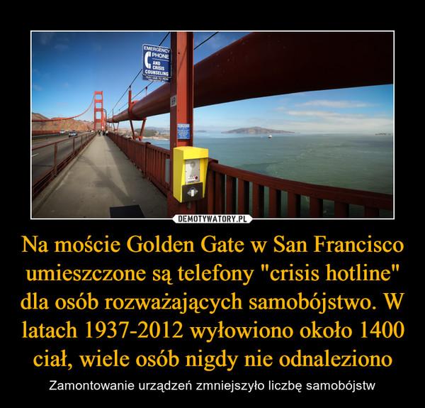 """Na moście Golden Gate w San Francisco umieszczone są telefony """"crisis hotline"""" dla osób rozważających samobójstwo. W latach 1937-2012 wyłowiono około 1400 ciał, wiele osób nigdy nie odnaleziono – Zamontowanie urządzeń zmniejszyło liczbę samobójstw"""