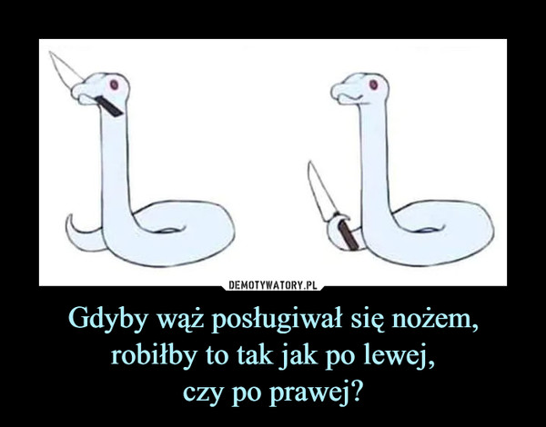 Gdyby wąż posługiwał się nożem, robiłby to tak jak po lewej,czy po prawej? –